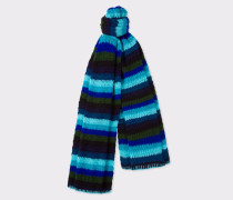 Turquoise Crochet Scarf With Multi-Coloured Stripe