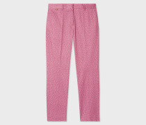 Slim-Fit Pink 'Geometric Flower' Print Cotton-Blend Trousers