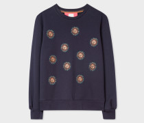Navy Cotton Sweatshirt With 'Sun' Embroidery