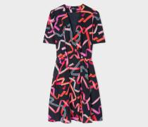 Dark Navy 'Ribbon' Print Silk-Blend Wrap Dress