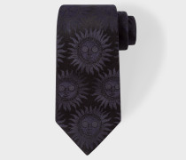 Navy Textured 'Sun' Motif Silk Tie