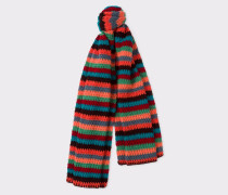Multi-Coloured Stripe Crochet Scarf