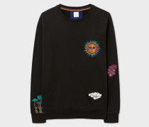 Black Loopback-Cotton Sweatshirt With 'Psychedelic Sun' Embroidery