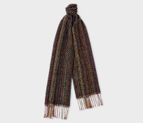 Signature Stripe Basket Weave Pattern Cashmere Scarf