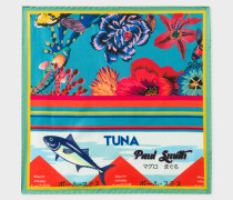 Blue 'Ocean' Print Silk Pocket Square