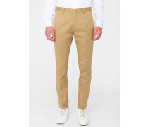 Slim-Fit Tan Stretch-Cotton Twill Trousers