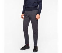 Navy Brushed Cotton Tapered Trousers