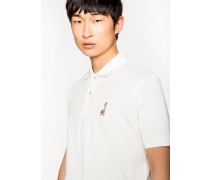 Slim-Fit White Cotton-Piqué Polo Shirt With Embroidered Lemur