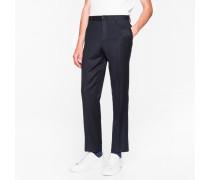 Mid-Fit Dark Navy Wool Trousers