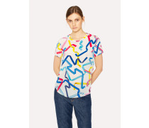White 'Ribbon' Print Silk Crew Neck Top