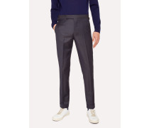 Slim-Fit Navy Check Wool Trousers With Side-Adjusters
