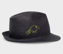Dark Navy 'Hello' And 'Bird' Embroidered Panama Straw Hat