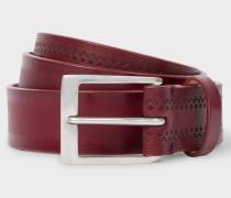 Burgundy Embossed Pattern Leather Belt
