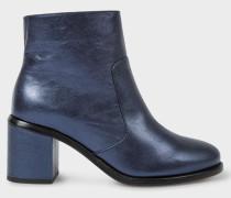 Metallic Navy Leather 'Luna' Boots