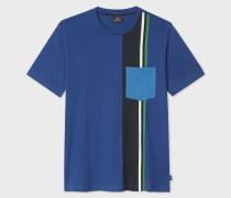 Navy Block-Stripe Pocket T-Shirt