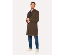 Brown Textured Wool-Blend Overcoat