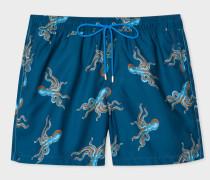 Blue 'Octopus' Print Swim Shorts