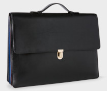 Black 'Concertina' Leather Briefcase