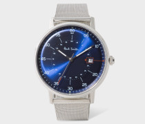 Navy And Stainless Steel 'Gauge' Watch