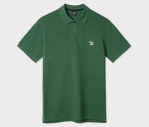 Dark Green Organic Cotton-Piqué Zebra Logo Polo Shirt