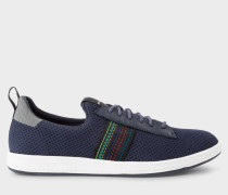 Navy 'Rabknit' Knitted Trainers With Striped Webbing
