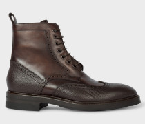 Dark Brown Calf Leather 'Raven' Brogue Boots