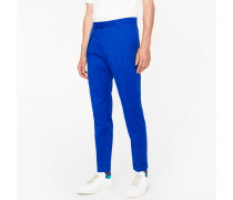Indigo Brushed Cotton Tapered Trousers