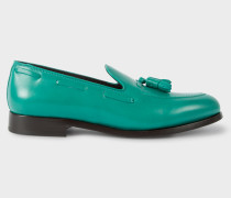 Teal Leather 'Simmons' Tasseled Loafers