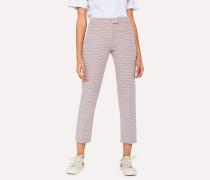 Slim-Fit Pink Jacquard Cotton-Blend Trousers