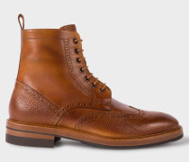 Tan Calf Leather 'Raven' Brogue Boots