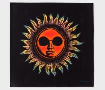 Black Large 'Sun' Print Silk Pocket Square