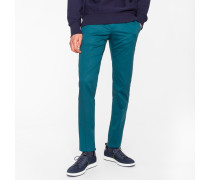 Slim-Fit Dark Teal Stretch-Cotton Trousers