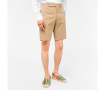 Tan Stretch Cotton-Twill Shorts
