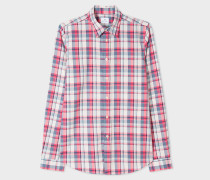 Tailored-Fit Pink And Blue Check Cotton-Blend Shirt