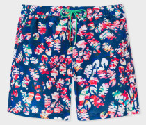 Blue 'Palm Leaf' Print Long Swim Shorts
