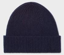 Navy Cashmere-Blend Beanie Hat