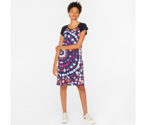 Navy 'Floral Circles' Print Jersey Dress