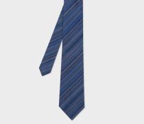 Navy Signature Stripe Silk Tie