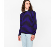Black And Purple Breton-Stripe Merino Wool Sweater