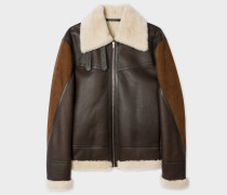 Brown Shearling And Lamb Leather Jacket