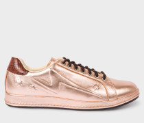 Embossed Metallic Copper Leather 'Lapin' Trainers