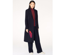 Navy 'A Coat To Travel In' Wool Long Coat With Feather Embroidery