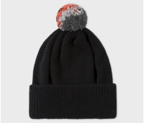 Black Lambswool Knitted Bobble Hat