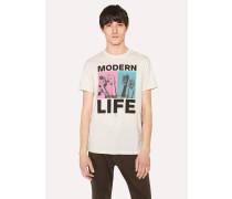 Slim-Fit Off-White 'Modern Life' Print Organic-Cotton T-Shirt