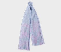 Blue Embroidered Pin-Stripe Scarf