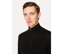 Black Funnel Neck Merino Wool Half-Zip Sweater