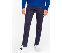 Slim-Fit Navy Stretch-Cotton Trousers