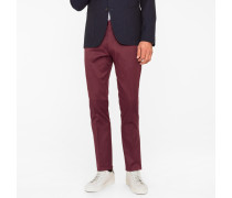 Slim-Fit Burgundy Stretch-Cotton Twill Trousers