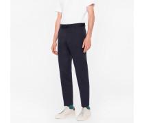 Standard-Fit Navy Cotton-Linen Chinos