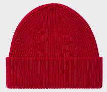 Red Cashmere-Blend Beanie Hat